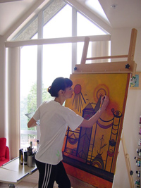 Lucie Marlo at work in her studio